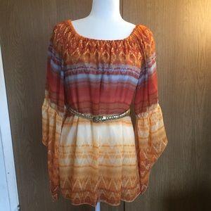 Orange & Rust Boho Style Blouse
